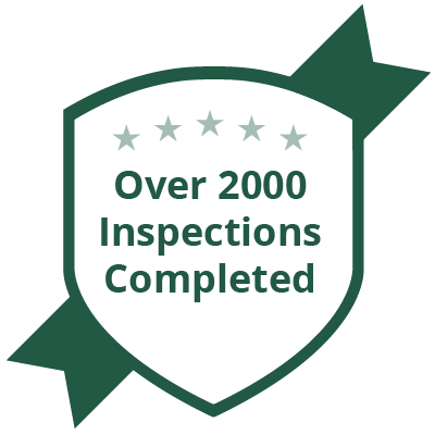 Badge saying over 2000 inspections completed